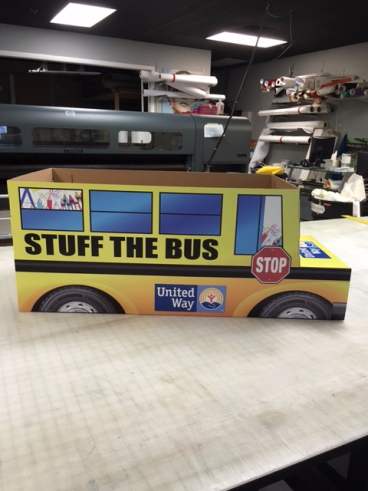 Custom made Bus for Colonial Park Mall.  Printed onto card stock directly and then cut with router