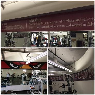 Weight room wall graphics for John Paul II High School in Plano, Texas!
