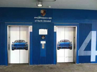 Wall and Elevator Graphic - Porsche of North Olmsted