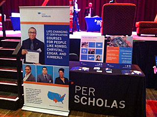 Booth for Per Scholas for SchmoozaPalooza!