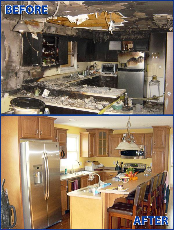Kitchen Fire Restoration before and after