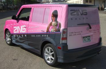 vehicle wrap Zing Salon Kia Soul Wrapped denver, CO