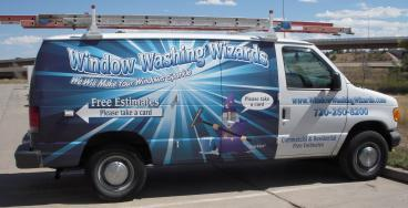 fleet wrap Window Washing Wizards Van denver, CO