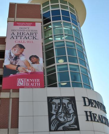 outdoor signage denver, CO denver health building signage