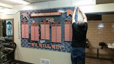Weight room board for Ritenour Football. Good luck this year.