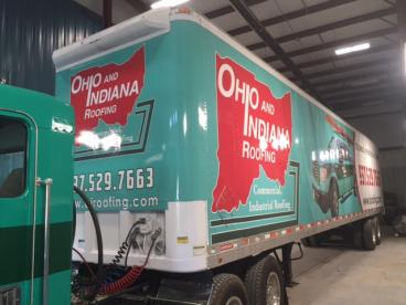 Ohio and Indiana Roofing 53' Trailer Wrap Vandalia Ohio