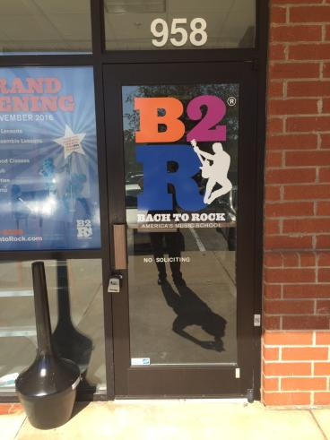 Door Graphics for Bach to Rock in Apex, NC