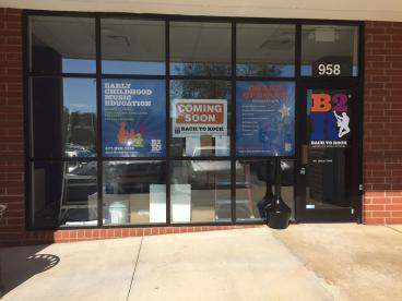 Window Graphics at Bach to Rock in Apex, NC