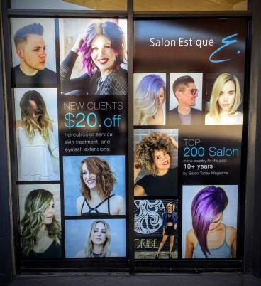 Salon Estique Window Graphic