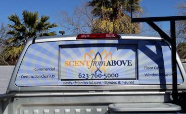Perforated Window Graphics for Work Truck