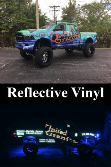 Check Out the Reflective Vinyl we Installed on United Granite's Truck!!! They'll never go unseen!