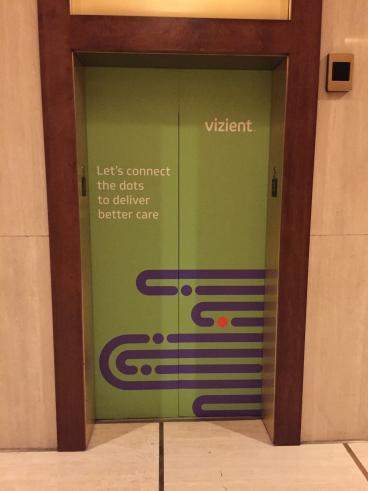 Vizient, Elevator Graphic, Corporate Branding, Dallas, TX, 2016