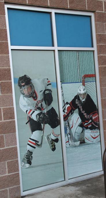 window graphics hockey players denver, CO