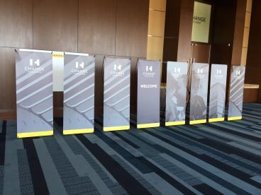 Event Retractor Stand Graphics, Corporate Branding, ExamSoft, Dallas, TX