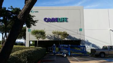 New outdoor sign for OMNILIFE's new Distribution near Grand Prairie and Arlington, Texas!