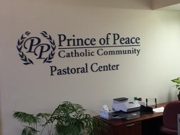 Acrylic wall graphic for our friends at Prince of Peace Catholic Community in Plano, Texas!
