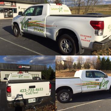 Truck Decals and Window Perf for Lawn Stars