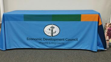 Printed fabric table cloth for trade show
