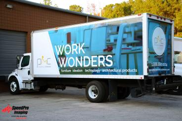 Different Color Box Truck Wraps for PMC Commercial Interiors