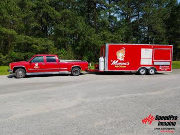 Truck and Trailer Receive Graphics for Mama's Hot Chicken
