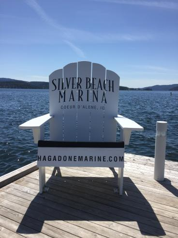 Cut vinyl lettering for Silver Beach Marina adirondack chair
