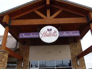 Hallet's Chocolates Entry signs