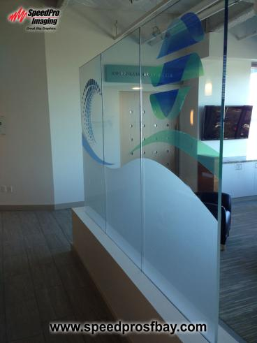 Corporate lobby glass
