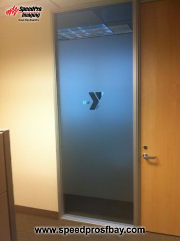 Frosted privacy glass with cut-out