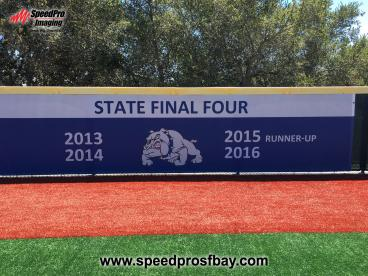Outfield fence banner