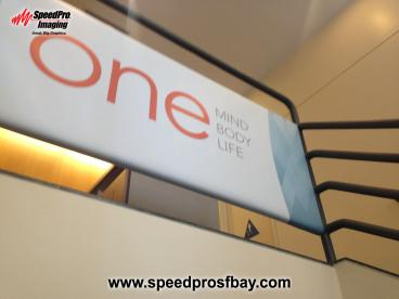 Stair top railing banner graphic