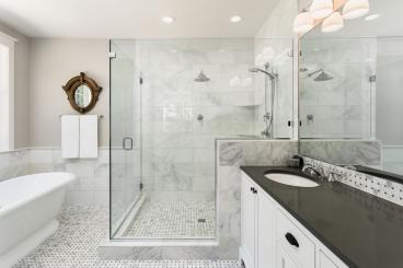 Glass Corner Shower Door with D-Pull Handle