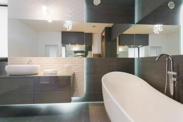 Offset Mirror in Luxury Bathroom