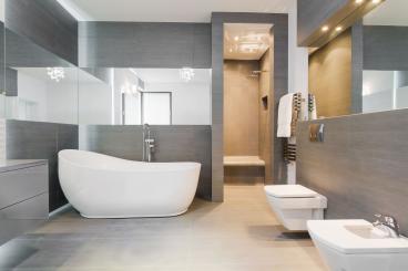 Narrow Wall Mirrors Around Bathroom