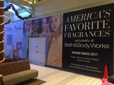 Bath & Body Works mall barricade mural Spokane Valley Mall