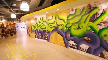 Digitas Custom Wall Wrap with Graffti Overlay