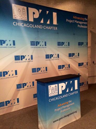 Tradeshow Display: Backdrop and podium wrap