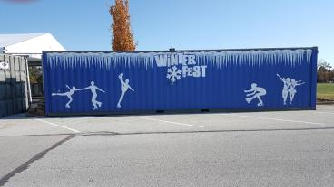 Container wrap for outdoor ice rink