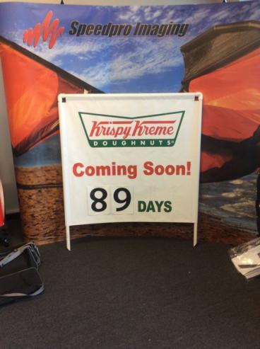 Krispy Kreme Coming Sooner Banner Signage