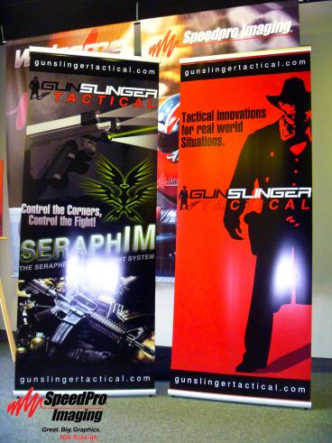 Gunslinger Tactical's Retractable Banner Stands