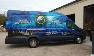 Ford Transit wrap for Greater Pure Light Church