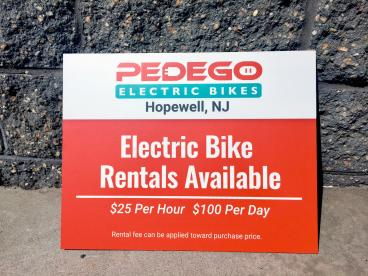 Pedego Electric Bikes Sign for Sourland Cycles in Hopewell, NJ