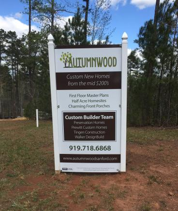 Autumnwood Neighborhood Sign in Sanford, NC