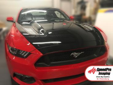 Custom hood wrap for a 2017 Mustang 5.0