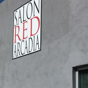 Salon Red Outdoor Sign