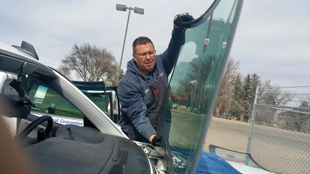 Windshields look huge when they are out of the car.