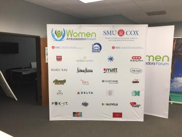 Step & Repeat Hopup for the SMU Women Ambassadors Forum in Dallas, Texas.