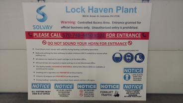 Solvay Plant Entrance Sign