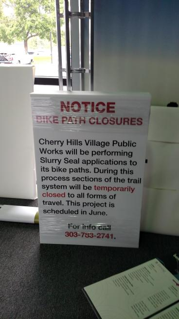 Direct full color print on coro-plast Cherry Hills Village Notice Bike Path Closures