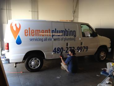 Element Plumbing - Partial Vehicle Wrap (During Installation) Tempe-Chandler Arizona