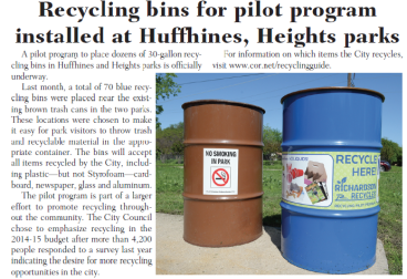 Recycling Bins with Anti Graffiti laminate for the City of Richardson.